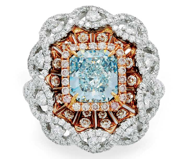 Coloured diamond pieces, such as this ring, continue to drive interest at estate sales.