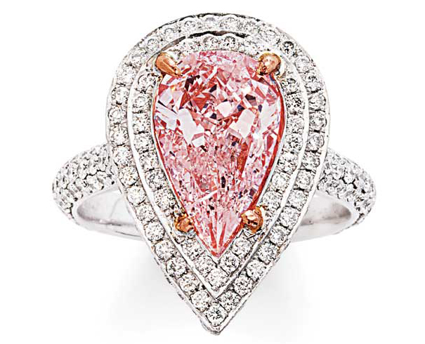 An antique pink diamond and white gold ring.