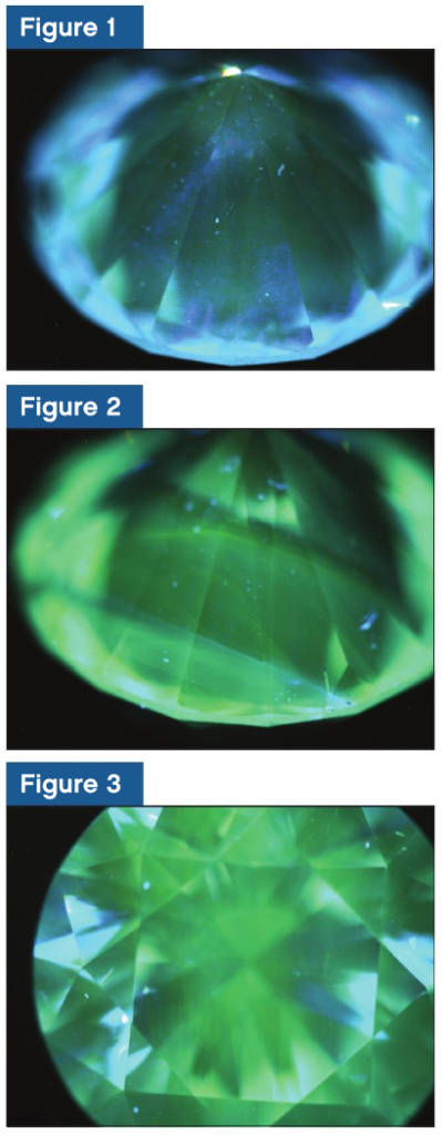 These figures show the resulting images relating to fluorescence. Fluorescence occurs while being subjected to high-energy ultraviolet (UV) rays  within a sample chamber located in the DiamondView. The colouration from green to blue is the result of defects within the body of the chemical vapour deposition (CVD) diamond that are being subjected to high-energy UV rays. This affects the electronic structure. Here, the excited electrons are giving off energy in the visible spectrum as they are returning to its stable lower energy level. The degree and length of UV excitation causes the variance of colouration seen, as well as bring out the characteristic structural growth features.