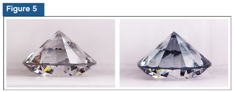 Here we see a 'before' (left) and 'after' (right) image of a CVD diamond changing from near colourless to a bluish colouration after being subjected to higher-energy UV light in the DiamondView instrument. From a scientific (albeit simplified) viewpoint, the colour change observed is known as photochroism. This is a reversible transformation of a material's colour due to exposure to electromagnetic rays, such as UV. During this photochromic effect, basically, we have the electrons in defects within a CVD diamond being exposed to additional energy from a source as the UV. This causes the energy state to change, which, in turn, affects the way colour is absorbed from the visible spectrum. The increased absorption in the red region of the visible spectrum causes the blue to be seen.