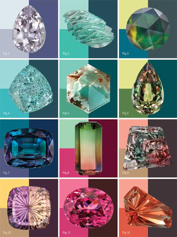Colour Palette: The 2021 forecast colour palette includes hues represented by a 2.23-carat Golconda pear-cut grey Madagascan sapphire, courtesy David Walsh of Freebourne Co. (Fig. 1); a 53.65-carat natural aquamarine freeform, carved by John Dyer of John Dyer Gems (Fig. 2); a 1.16-carat rose-cut unheated Rubyvale Queensland Australian parti sapphire, cut by Laura Phillis of Tatum Gems (Fig. 3); a 106.84-carat natural aquamarine Dreamscape, cut by John Dyer (Fig. 4); a translucent hexagon-cut Aquaprase, courtesy Yianni Melas  (Fig. 5); a 121.65-carat pear-cut Turkish Csarite, cut by Rudi and Ralph Wobito of Wobito Gems (Fig. 6); a cushion-cut natural alexandrite, courtesy Omi Gems (Fig. 7); a 134.30-carat octagon-cut bicolour watermelon tourmaline, courtesy Paul Wild OHG (Fig. 8); a 11.59-carat natural Oregon sunstone Dreamscape, cut by John Dyer (Fig. 9); a 6.68-carat natural Bolivian ametrine Starbrite, cut by John Dyer (Fig. 10); an oval natural pink spinel, courtesy Omi Gems (Fig. 11); and a 4.22-carat natural Oregon sunstone freeform, cut by John Dyer (Fig. 12). Palette by Katinka Design/Photos courtesy as indicated