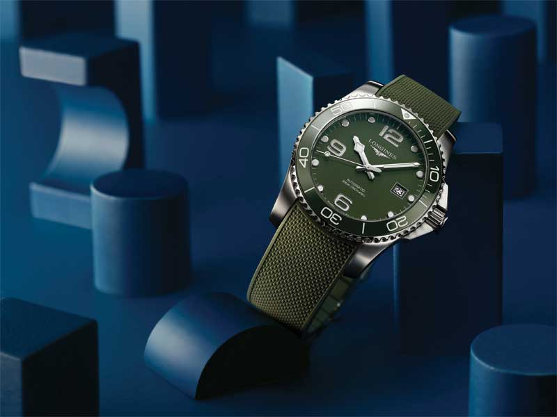 The Longines HydroConquest Green, featuring a rubber strap.