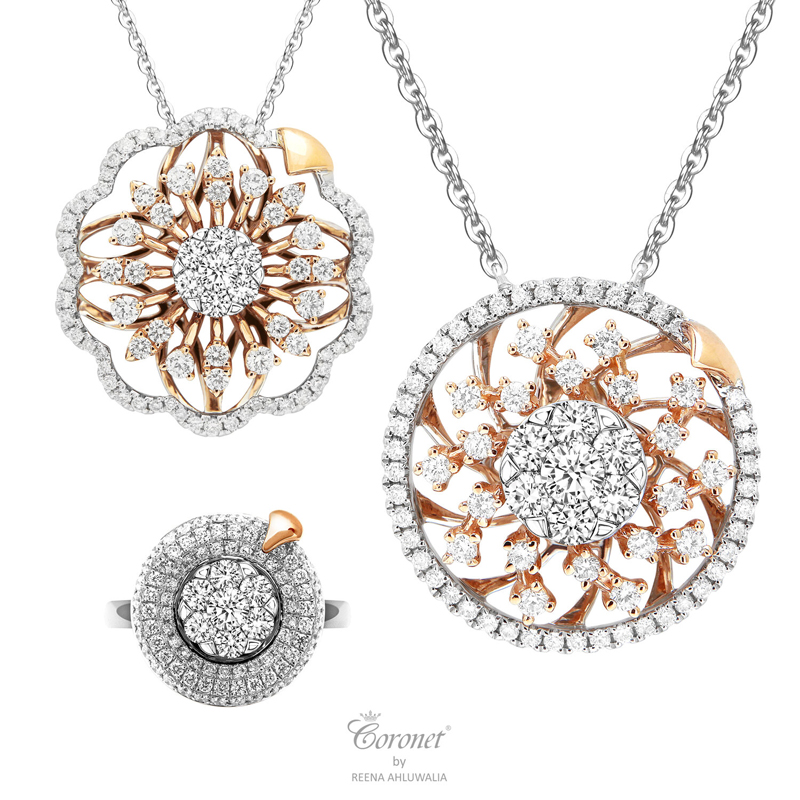 The 'Inner Brilliance' spinning diamonds collection from 'Coronet by Reena.'