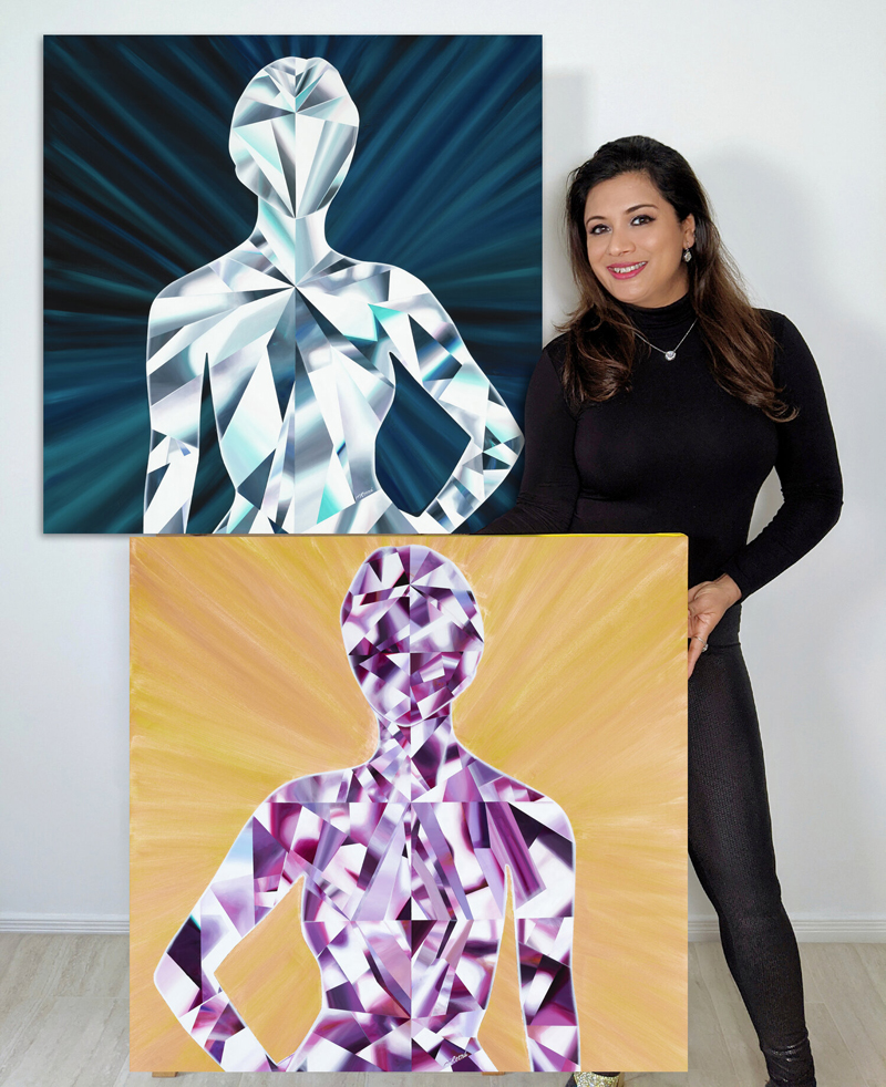 Painted during the COVID-19 crisis, Reena Ahluwalia's 'LIT Series' of diamond paintings are designed to celebrate the human spirit. (©Copyright)