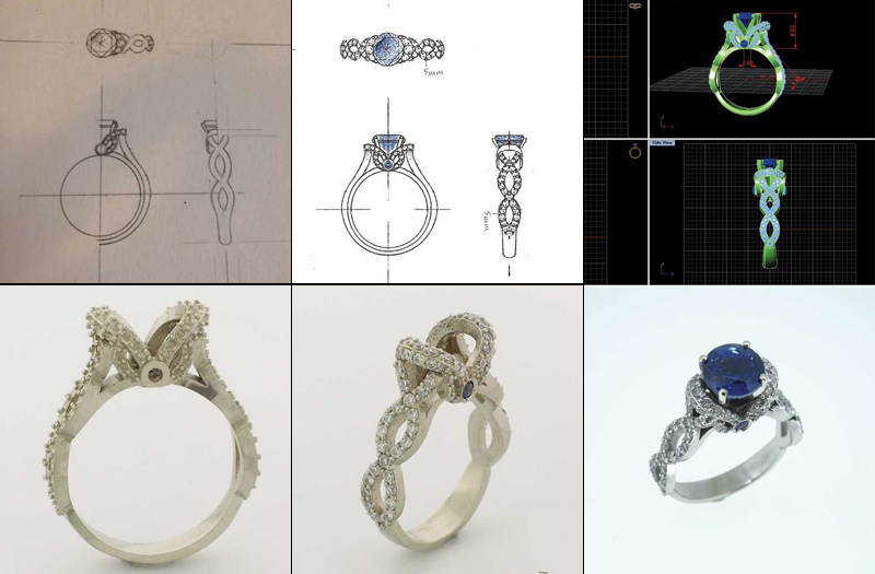Computer-aided design (CAD) can be used to help bring a customer's dream design to life. Images courtesy CAD Image Top Mfg./Highbury Custom Jewellery