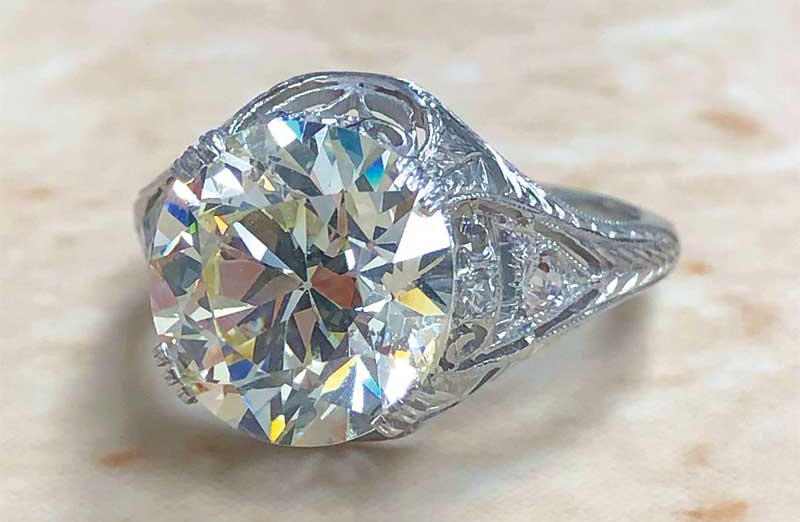 An original antique ring (circa 1910, the late-Edwardian era), featuring an old European-cut 4.30-carat diamond centre stone (K colour, SI2 clarity). Photos courtesy World Wide Weil Jewelry