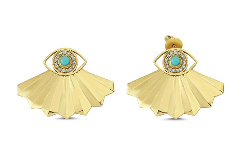 14-karat yellow gold 'Folded Fan Evil Eye Studs' by OWN Your Story, featuring 0.13 carats of white diamonds and turquoise.Photo courtesy OWN Your Story