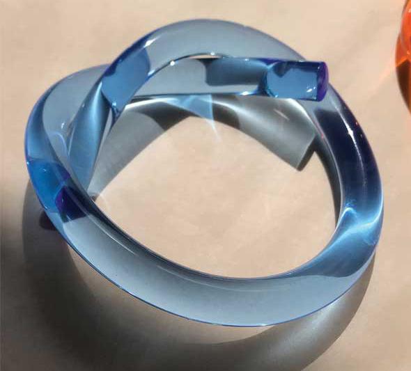 'Knot' Lucite bangle by Corey Moranis. Photo courtesy Corey Moranis