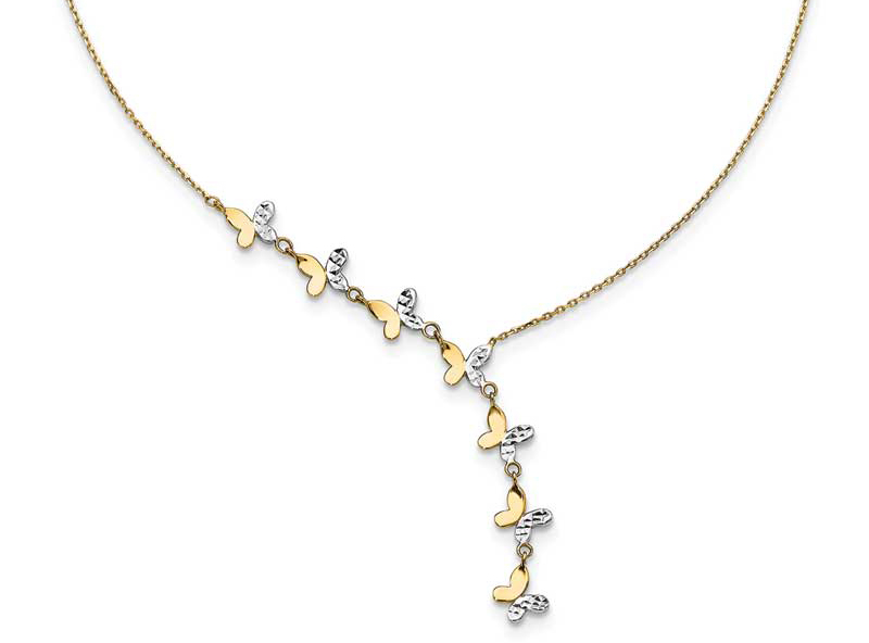 14-karat yellow gold butterfly necklace by Leslie's with rhodium plating. Photo courtesy Quality Gold
