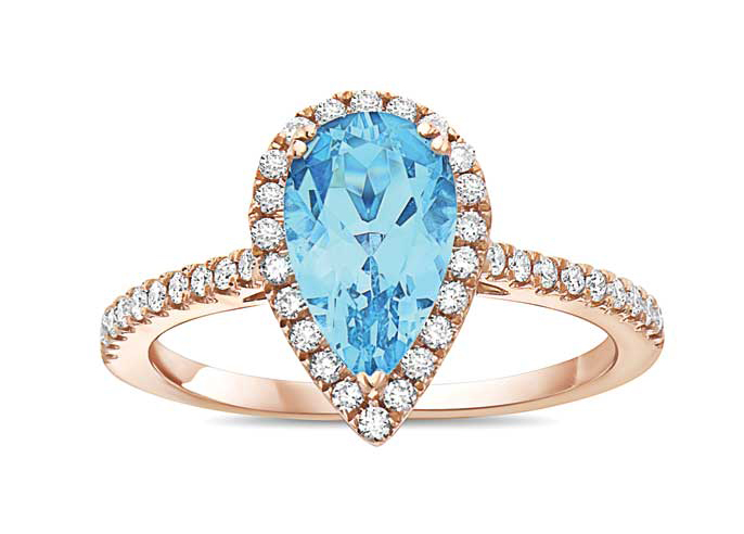 Rose gold ring by Makur, featuring a blue aquamarine centre stone. Photo courtesy Makur