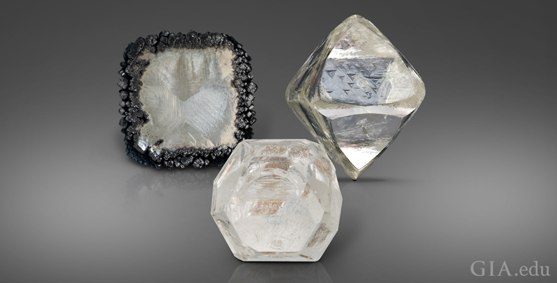 From left: a chemical vapour deposition (CVD) rough diamond; a high pressure, high temperature (HPHT) rough diamond; and a natural (mined) rough diamond. Composite image by Robert Weldon/courtesy GIA
