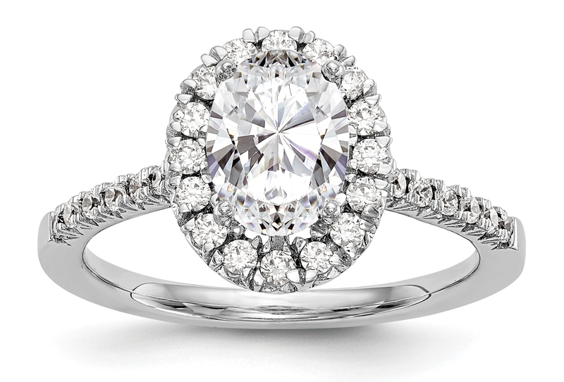 An oval halo ring, made with a lab-grown diamond. Photo courtesy Barthou Jewellers
