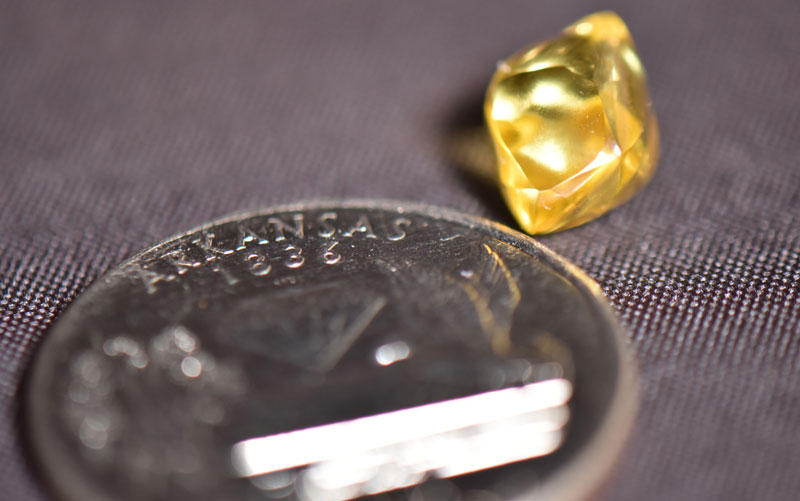A 4.49-carat canary-yellow diamond has been found at Crater of Diamonds State Park in Arkansas. Photo courtesy Arkansas State Parks
