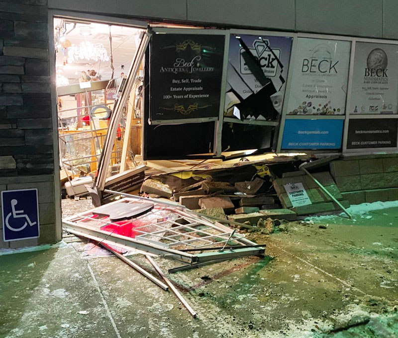 On Nov. 23, a black pick-up truck rammed into Edmonton's Beck Antiques & Jewellery, causing $25,000 to $50,000 worth of damage. Photos courtesy Beck Antiques & Jewellery