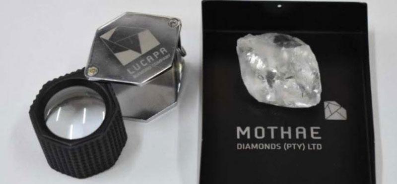 A 101-carat white diamond has been recovered at Lucapa Diamond's Mothae kimberlite mine. Photo courtesy Lucapa Diamond