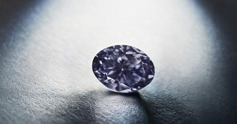 The oval-shaped 0.70-carat fancy dark violet-grey 'Argyle Infinité.'