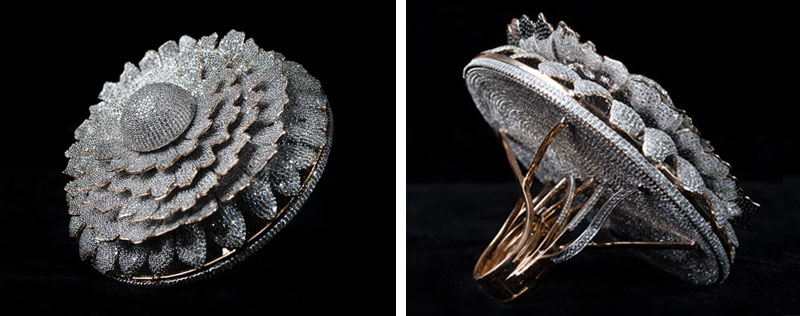 An 18-karat gold ring adorned with 12,638 VVS-clarity diamonds has nabbed the Guinness World Record for most diamonds set in in one ring. Photos courtesy Guinness World Records