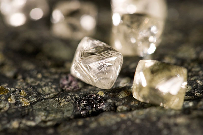 The Star-Orion South project, which is a joint venture of the Star Diamond Corporation and Rio Tinto Exploration Canada, has produced Type IIa diamonds weighing 10.13, 8.10, and 7.29 carats. Photo by Star Diamond Corporation