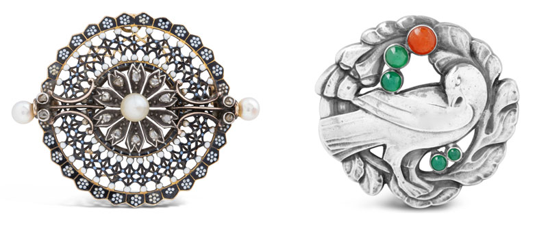 Left: Silver and gold brooch with pearls and diamonds by Carlo Giuliano (circa 1870s); right: silver and coloured gem brooch by GeorgJensen. Photos courtesy Dupuis Fine Jewellery Auctioneers