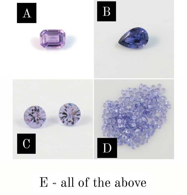 Figure 3: 'Lavender' gemstones 'C' (spinel) and 'D' (light tanzanite) took in 33 per cent and 31.5 per cent of the votes, respectively, while the combination of 'C' and 'D' earned 11.5 per cent. Gemstones 'B' and 'F' received only 1.27 per cent of votes each.