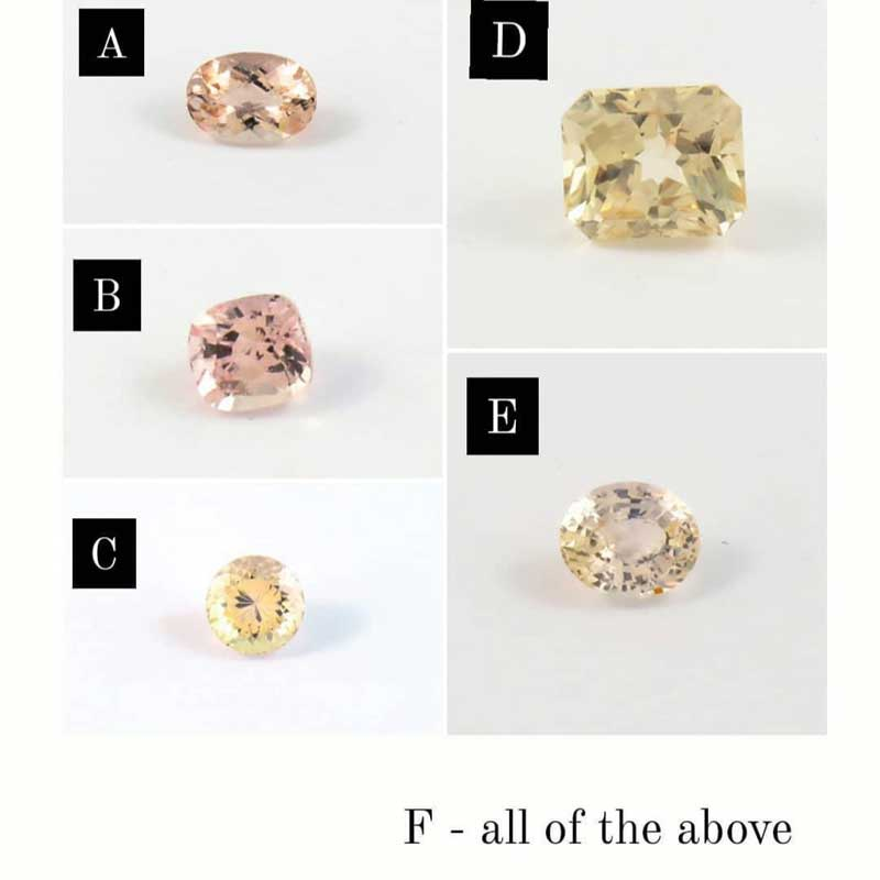 Figure 1: In a survey of up to 3000 respondents, 63 per cent identified gemstone 'A' (a morganite) as most closely matching the colour peach. Gemstone 'B' (sapphire) received 22.5 per cent of the votes, while 12.5 per cent said both stones best described the colour equally.