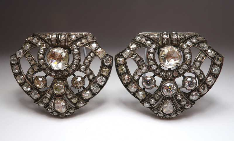 Antique silver and diamond dress clips. Photos courtesy Dupuis Fine Jewellery Auctioneers