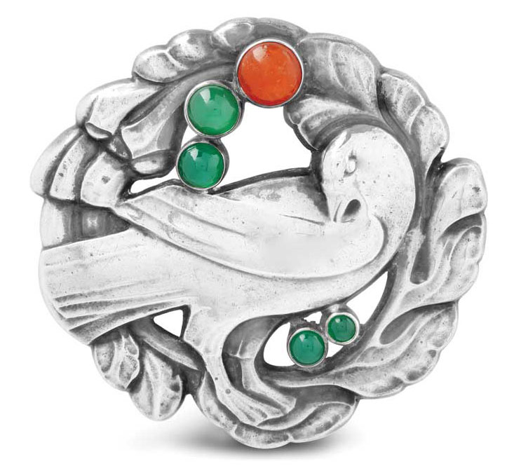 Silver and coloured gem brooch by Georg Jensen.