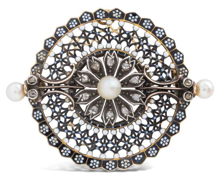 Silver and gold, pearl, and diamond brooch by Carlo Giuliano (circa 1870s).
