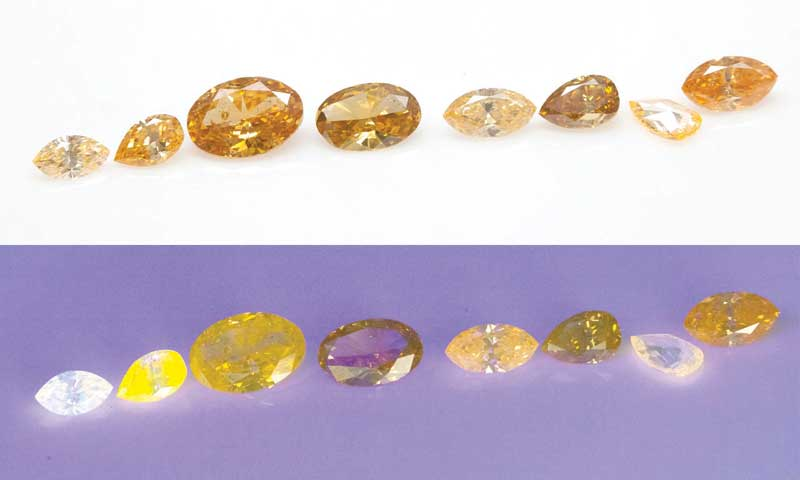 Orange diamonds with orange fluorescence appear much more intense and vivid in colour.
