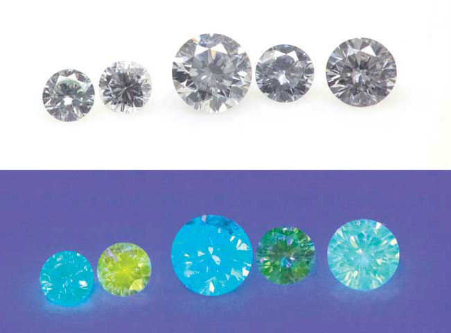 Flourescence in colour diamonds can vary greatly with blue being the most common colour, but white, orange, orange-yellow, yellow, green, and red can also be found.