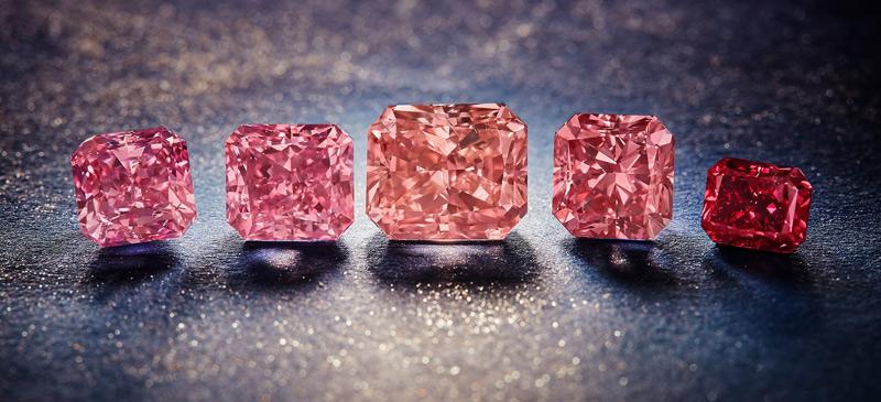 The five 'hero' diamonds of Rio Tinto's final Argyle Pink Diamonds Tender. Photo courtesy Rio Tinto