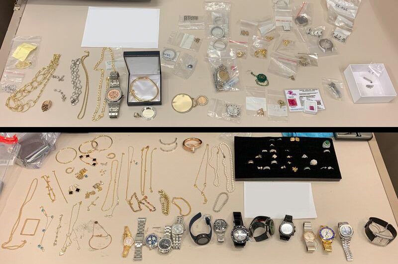 Some of the jewellery allegedly recovered during a recent armed robbery investigation in Toronto. Photos courtesy Toronto Police Service