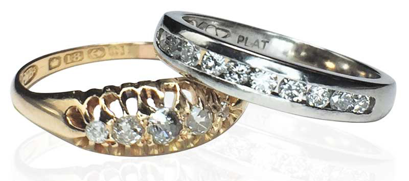 Early diamond wedding ring and modern diamond wedding ring. Photos courtesy Jewellery by Sanders