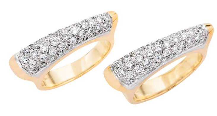 Two gold rings with diamonds.