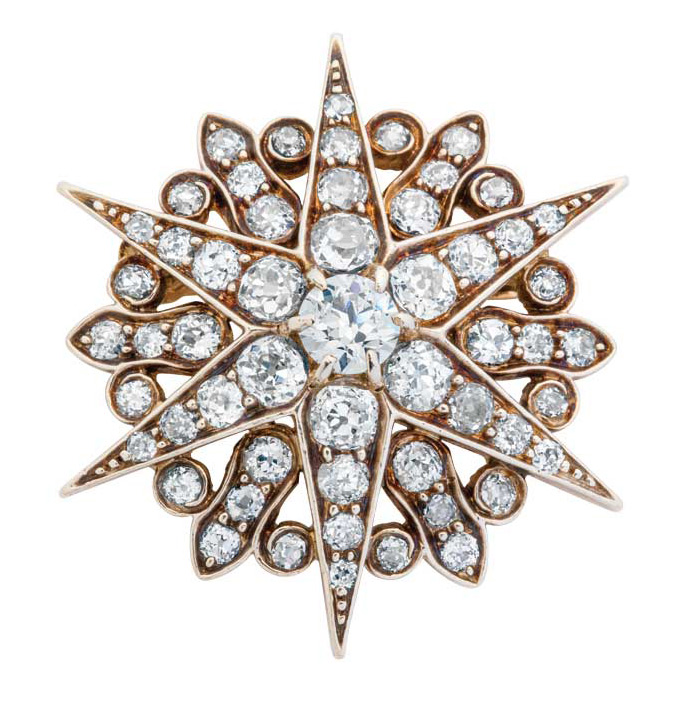 Antique diamond, silver, and gold pendant/brooch by Tiffany & Co. (1890).