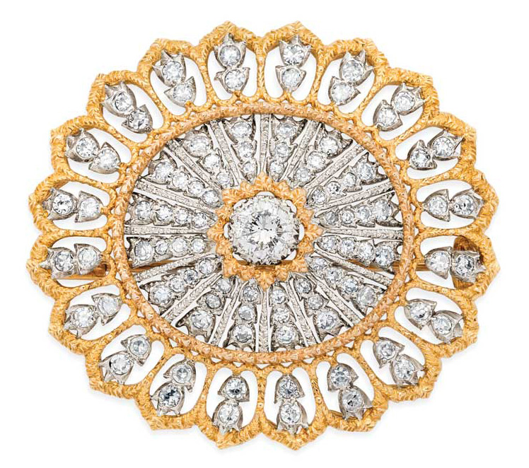 Diamond and two-tone gold brooch by Buccellati.
