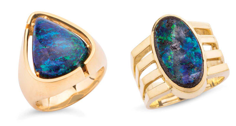 Gold ring featuring treated opal (left) and gold ring with boulder opal (right). Photos courtesy Dupuis Fine Jewellery Auctioneers