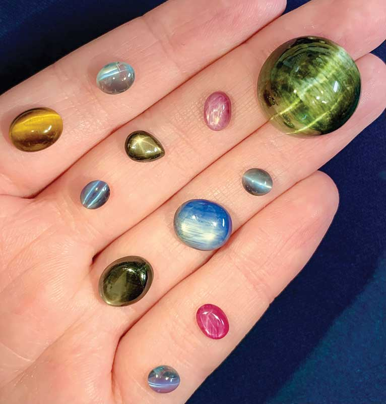 Cat's eye and star gemstones, including tourmaline, sapphire, ruby, tiger eye, among others.