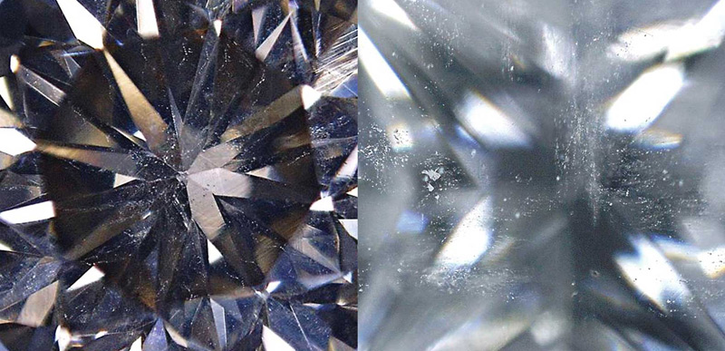 Cloud of pinpoints, needles, and crystals visible in a mined diamond.