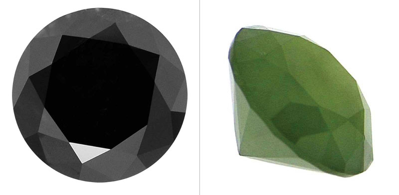 Figure 1: Standard round brilliant-cut black diamond by Fawaz Gruosi (left) and standard round brilliant-cut nephrite jade (trademarked 'Jade Diamond') by Hesse (right). Photos courtesy New Sun Design Group