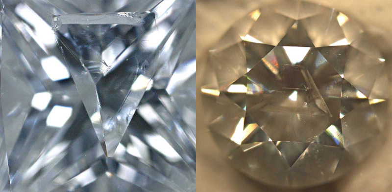 A knot is an included diamond crystal which extends to the surface of the stone.