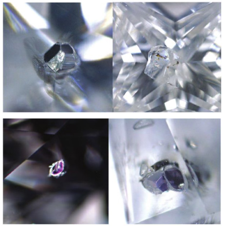 In natural (or mined) diamonds, most included crystals are smaller diamond crystal and usually appear white or transparent (pictured top). These inclusions might also be crystal of other minerals (such as garnet or peridot), which appear coloured (pictured below).