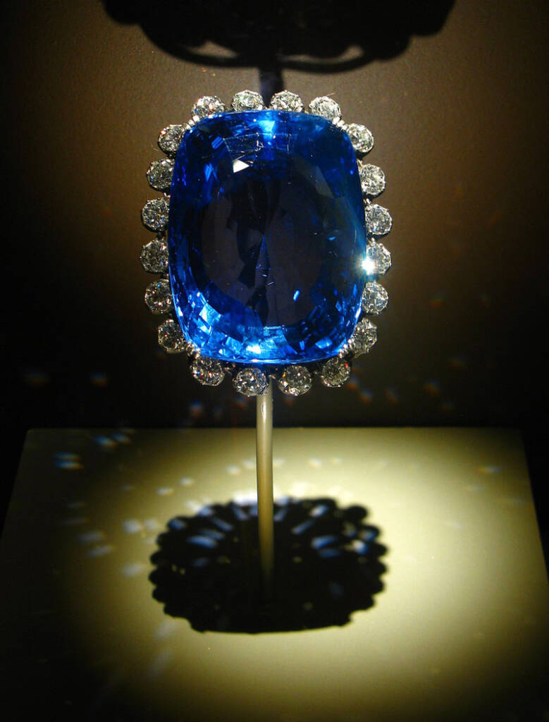 Roughly the size of an egg, the 423-carat Logan Sapphire is the world's largest faceted blue sapphire. Photo by Andrew Bossi/courtesy Wikimedia Commons